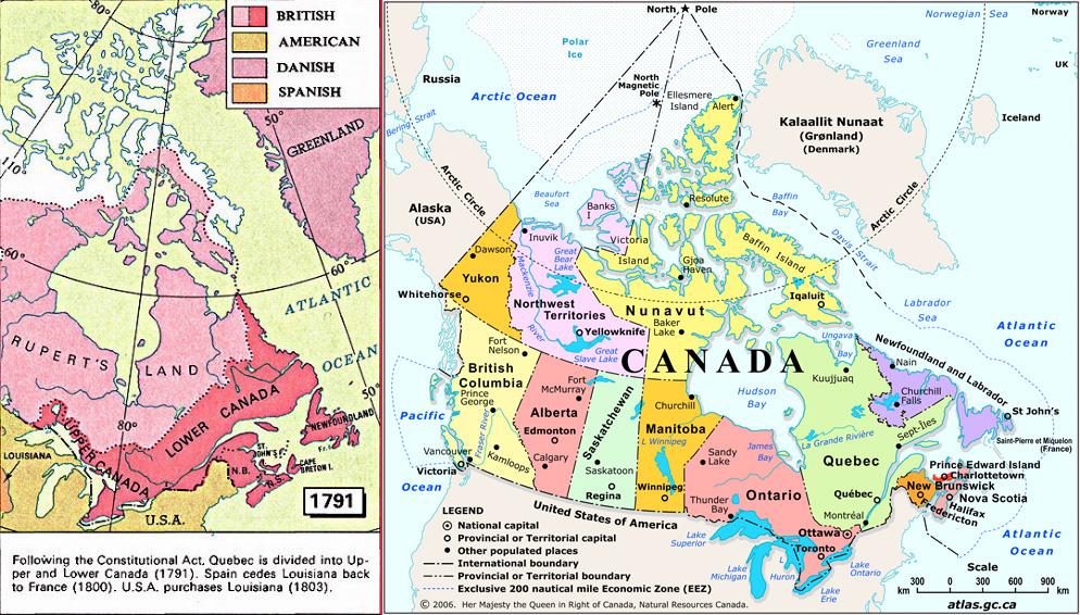 Mapa do antes e depois do Canadá