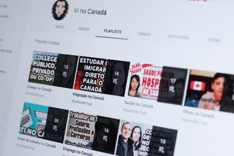 Playlists no YouTube com vídeos sobre o Canadá